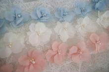3D chiffon rosette trim, ivory pink blue flower trim by the yard
