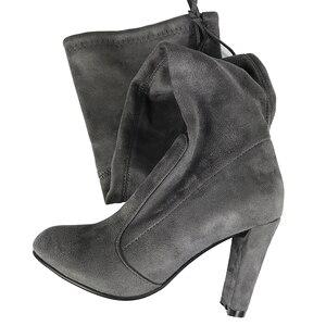 Image 5 - Üst Faux süet kadın uyluk yüksek çizmeler streç ince seksi moda diz çizmeler üzerinde kadın yüksek topuklu ayakkabı siyah gri şarap kadehi çıplak