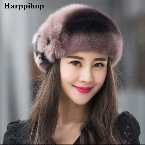 Genuine mink fur hat for women winter imported whole mink fur cap floral  pattern 2017 Russian high-end luxury female hats 574324275d1