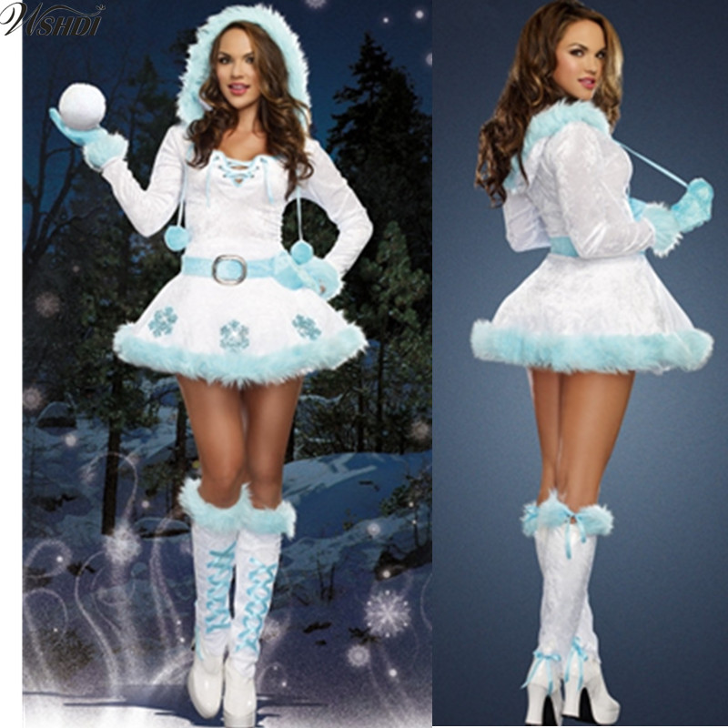Sexy Christmas tree Costumes Deluxe Sexy Dreamy Snow Maiden Hooded Christmas Dress Santa Claus Costumes for Adults Uniform