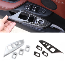 For BMW X3 F25 X4 F26 2013 2014 2015 2016 2017 Carbon Fiber Texture / Sliver Car Window Lift Switch Button Panel Cover Trim