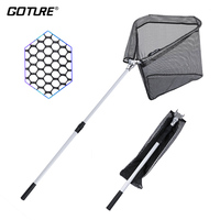 Goture 150cm/210cm Folding Fishing Net Triangular Landing Net 2/3 Sections Telescoping Pole Rubber Coated Net Network