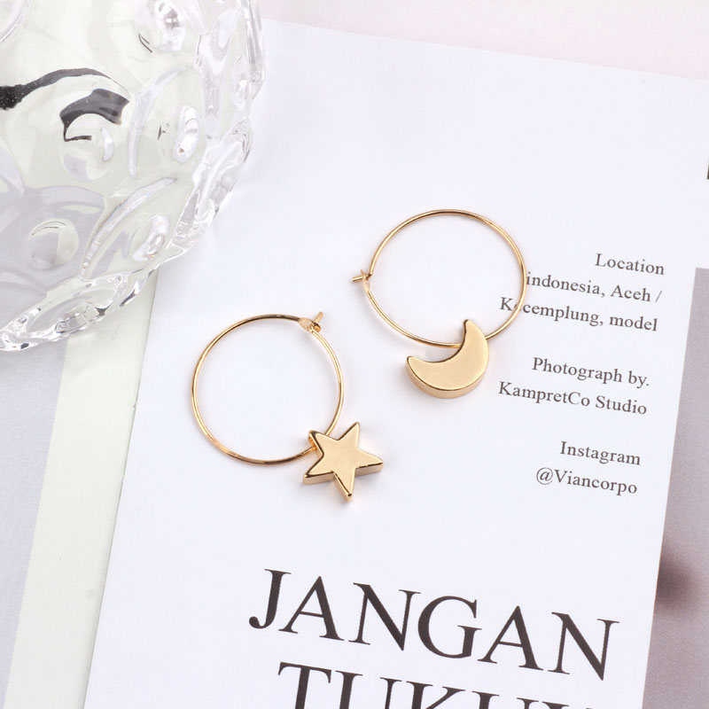 DIY accessories copper plated gold star moon love earrings earrings necklace bracelet pendant pendant material in Jewelry Findings Components from Jewelry Accessories