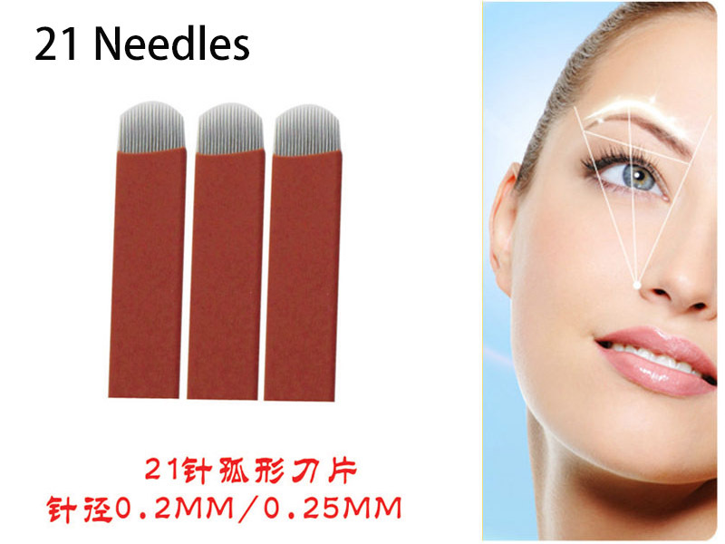 Free Shipping High Quality 50pcs Lot Permanent Eyebrow Makeup Blade Manual Eyebrow Tattoo Curved Blade 21 Needles Tattoo & Body Art Tattoo Needles