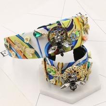 El nuevo Barroco abeja flor hojas pulsera Corea exagerada hoop cintas para el pelo de cristal abierta 1240