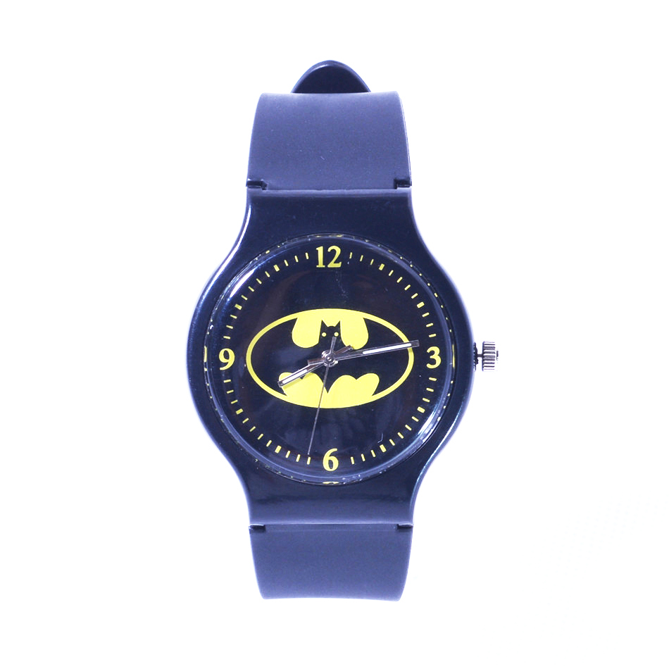 free shipping wholesale superman watch quartz cartoon children 3d watch 1pcs Fashion Cartoon Superman Batman Mens Watches Men Black Silicone Round Quartz Wrist Watch for Man Kids Boys Children Clock 25CM