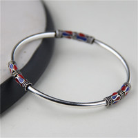 JINSE 925 Sterling Silver Bangle Bracelet Retro Ethnic Style Cloisonne Enamel Thai Silver Bangle 3mm 11g