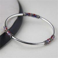 JINSE 925 Sterling Silver Bangle Bracelet Retro Ethnic Style Cloisonne Enamel Thai Silver Bangle 3mm 11g WTB078