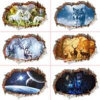 3d cassé mur trou Stickers muraux pour bureau salon chambre décoration de la maison bricolage Animal cerf loup paysage Mural Art Stickers