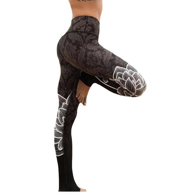 56527393c389f6 CKAHSBI Women High Waist Gym Jogging Yoga Pants Sportswear Floral Leggins Fitness  Print Athletic Black Plus Size Sport Leggings