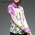 Hot Sale Winter Autumn Spring Printing  Pattern Women Long Sleeved  Elegant Purple Blouse T6N4115Y