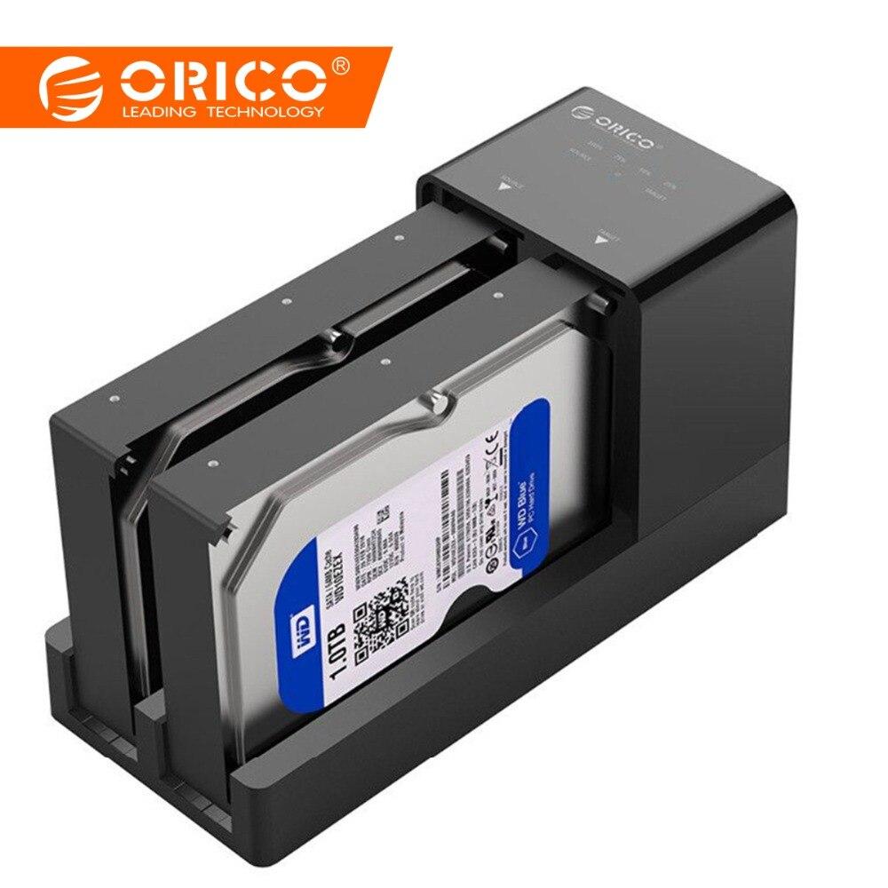 ORICO Double Bay station d'accueil pour disque dur 2.5 3.5 USB 3.0 à Sata boîtier de disque dur Support Hors Ligne Clone disque dur Adaptateur Pour lecteur de disque dur ssd