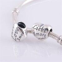 Bán buôn 925 Sterling Bạc Vít Lõi Love Heart Spacer Charm Beads Phụ fit Pandora Phong Cách Bracelet