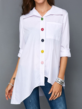 Plus Size Women's White Shirt Top Colorful Botton Anomalistic Women's Blouse Long Sleeve Summer Tunic Fashion Woman Blouses 2019