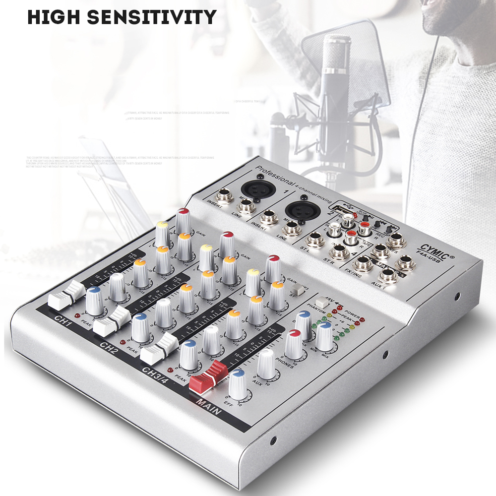 Mini Household Portable Audio Mixer With USB DJ Sound Mixing Console 48V Amplifier For Karaoke KTV Party