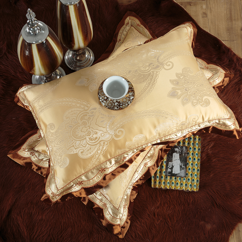 2018 European Golden Bedding Set Silk Cotton Embroidery Jacquard Queen King Size Duvet Cover Flat Sheet Bedspread Pillowcases in Bedding Sets from Home Garden