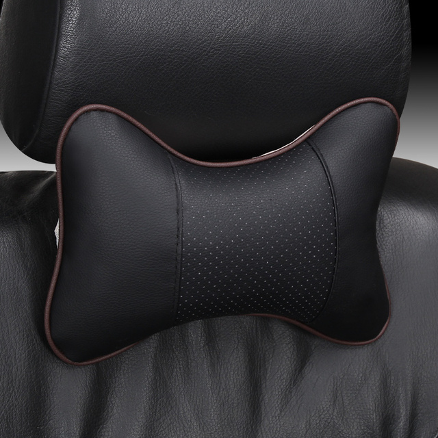 QFHETJIE new arrival 1PSC car neck pillow pu leather single head pillow suitable for most car filled fiber  pillow