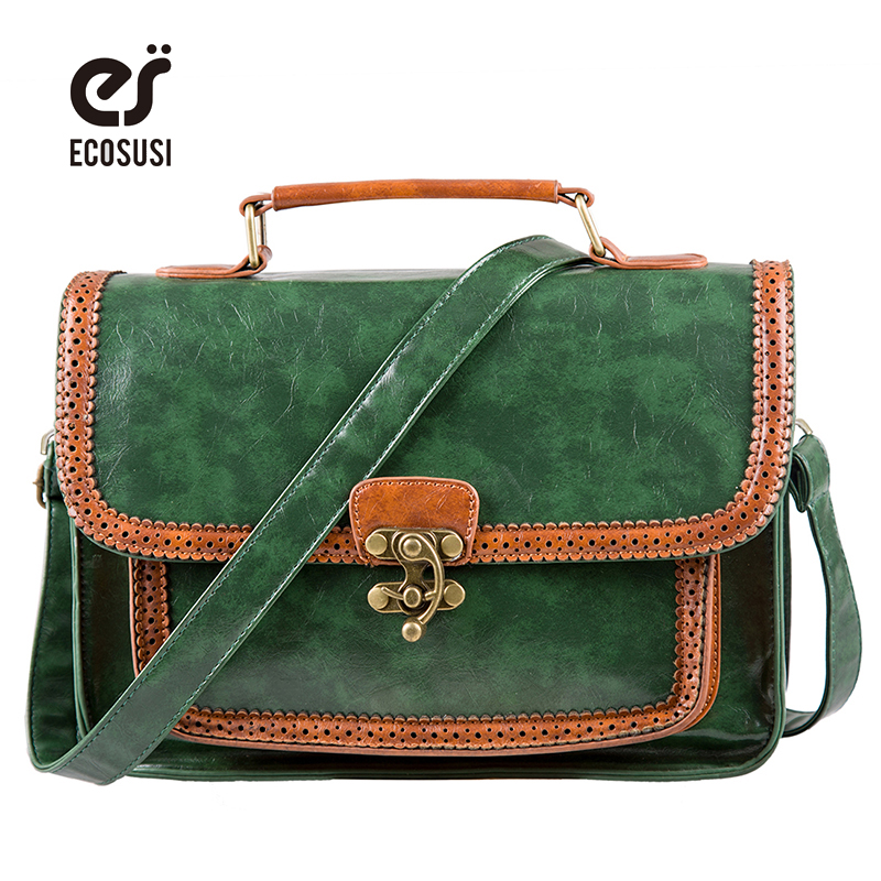 ECOSUSI 2017 Vintage Women Messenger Bags PU Leather Crossbody Bag Hollow Out Design  Shoulder Bags For Girls tmyoy 2016 new design vintage tassel hollow women messenger bags beauty national women shoulder bag pu leather bags bolsa bg214