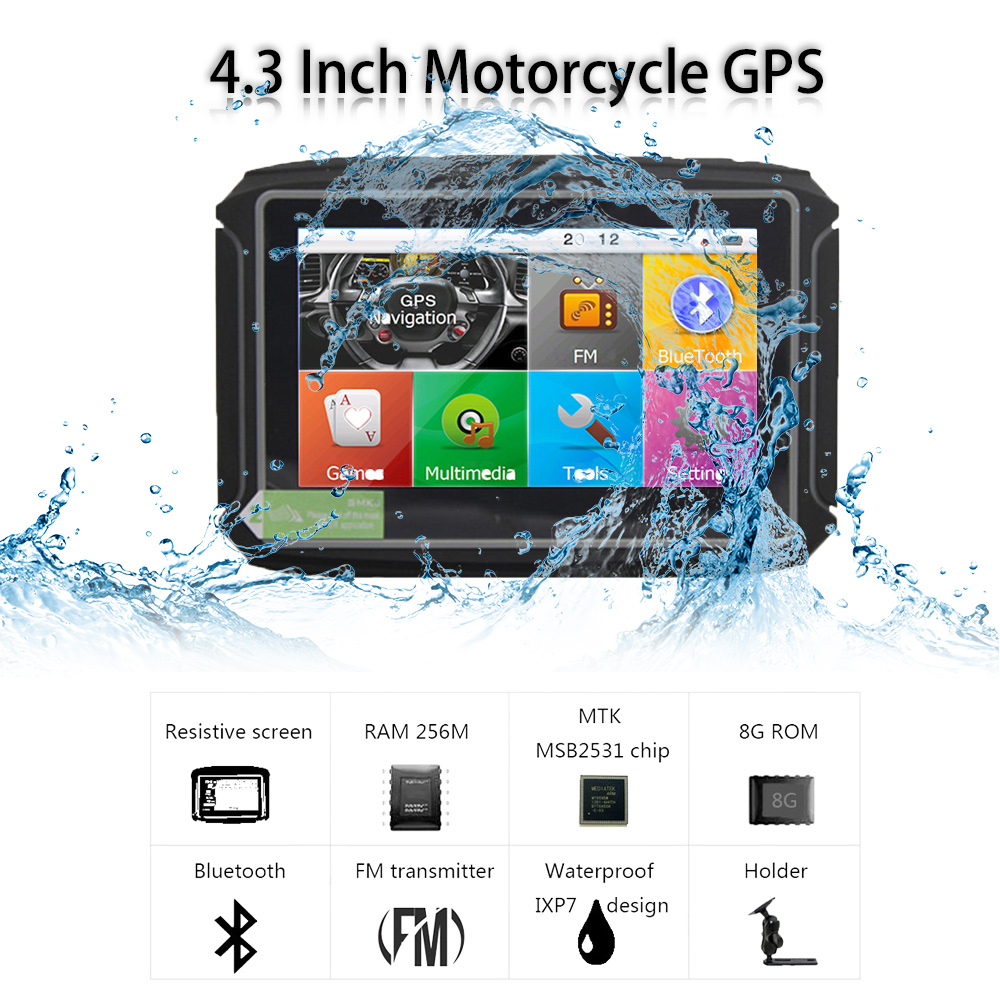 TOPSOURCE Car Motor Navigator GPS 256M RAM 8GB Flash 4 3 Inch Waterproof Motr Motorcycle gps Navigation with Bluetooth FM Maps in Motorcycle GPS from Automobiles Motorcycles