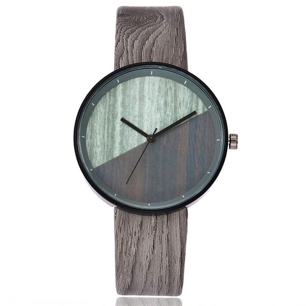 VANSVAR Women Wood Texture Watch Imitation Wooden Vintage Leather Quartz Watch BMF88