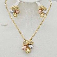 ef856606147 Italy luxo 750 Ouro Rosa Conjunto de Jóias Encantos de Prata Três Cores  Gota Gargantilha Brinco