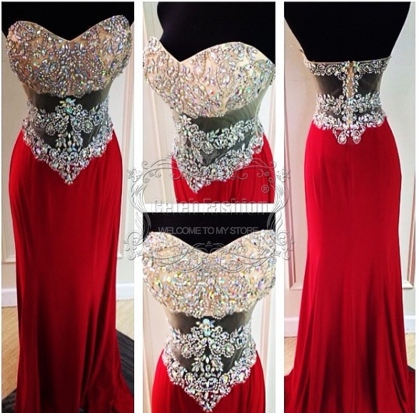 Actual Pictures Sheath Long Evening Gowns Custom Made Sweetheart ...