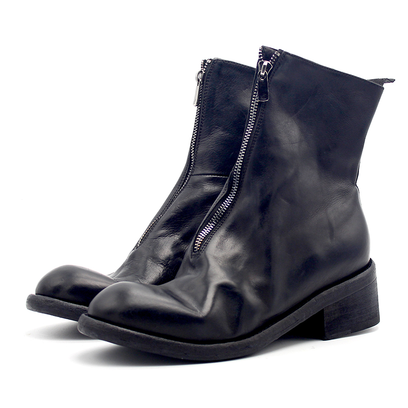 Classic Goodyear zip Boots for men Full Grain Leather Fashion Hot Man Motorcycle Boot
