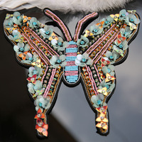 3D Handmade butterfly beaded Patches for clothes DIY sew on sequin rhinestone parches Embroidery applique large patch decoration