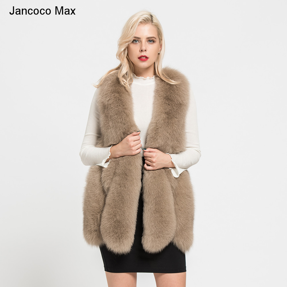 Jancoco Max 2019 Real Fox Fur Vest For Women Fashion New Style Autumn Winter Thick Warm Gilet High Quality Waistcoat S7178