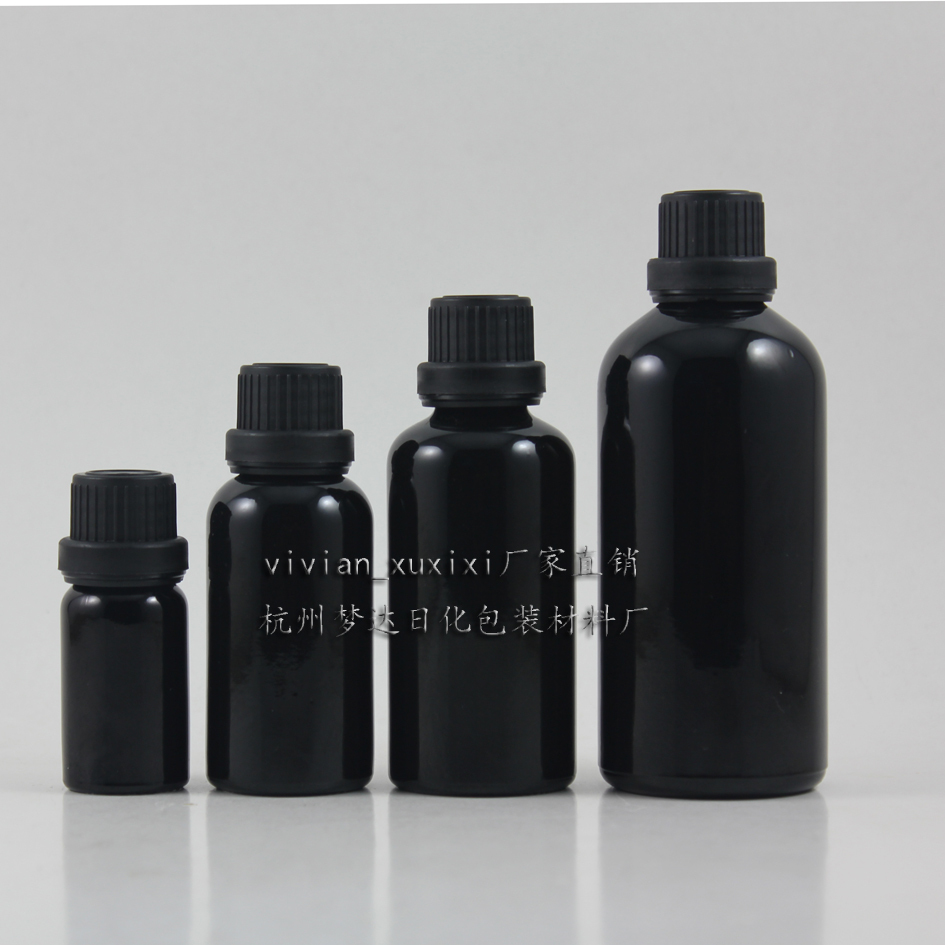 Wholesale 10ml Shiny Black Dropper Glass Bottle With Big