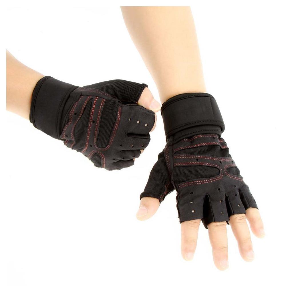 SEWS Unisex Sports Fitness Exercise Training Gym Half Finger Gloves Wrist Wrap for Men Women