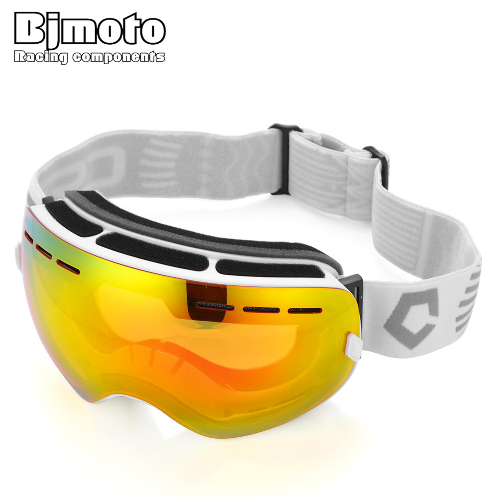 BJMOTO NEW Motorcycle Winter Ski Goggles Snowboard Eyewear UV 400 Double lens Protection Women Men Snowmobile Skiing Glasses