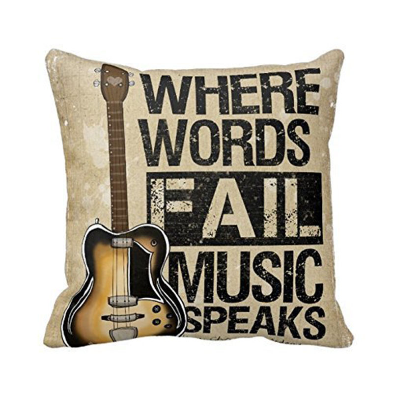 Vintage Personality Cotton Linen Guitar Cushion Cover Music Words
