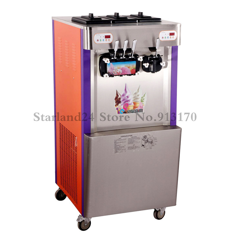 Commercial Soft Ice Cream Making Machine Upright Ice Cream Maker FOUR Flavors Yield 60~65liters/H CE Approval ice maker household ice making machine small commercial ice maker milk tea shop ice machine in red color hzb 12a