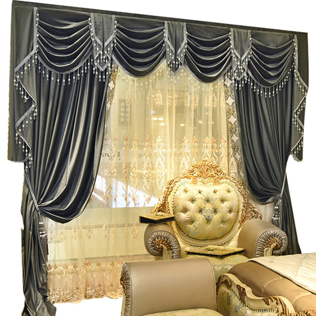custom curtains high class european luxury simple pure grey color french velvet embroidered lace curtain valance - Custom Curtains