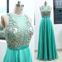 Turquoise A Line Scoop Neck Floor Length Crystal Chiffon Prom Party Formal Evening Dress M 263655
