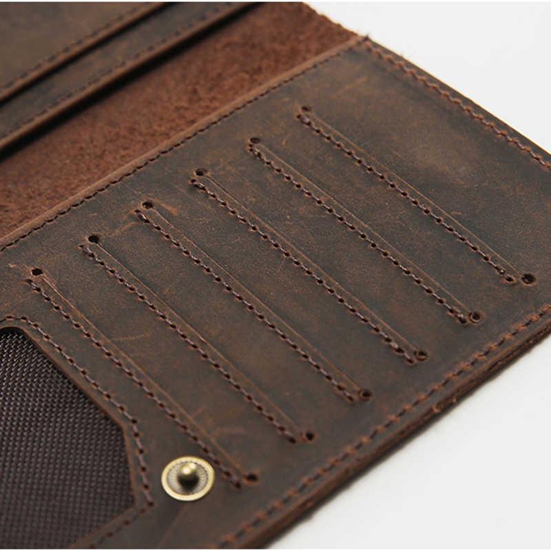 SIMLINE мужской бумажник из натуральной кожи Crazy Horse из воловьей кожи Мужской винтажный ручной работы длинный тонкий тонкие кошельки Кошелек держатель для карт Carteira