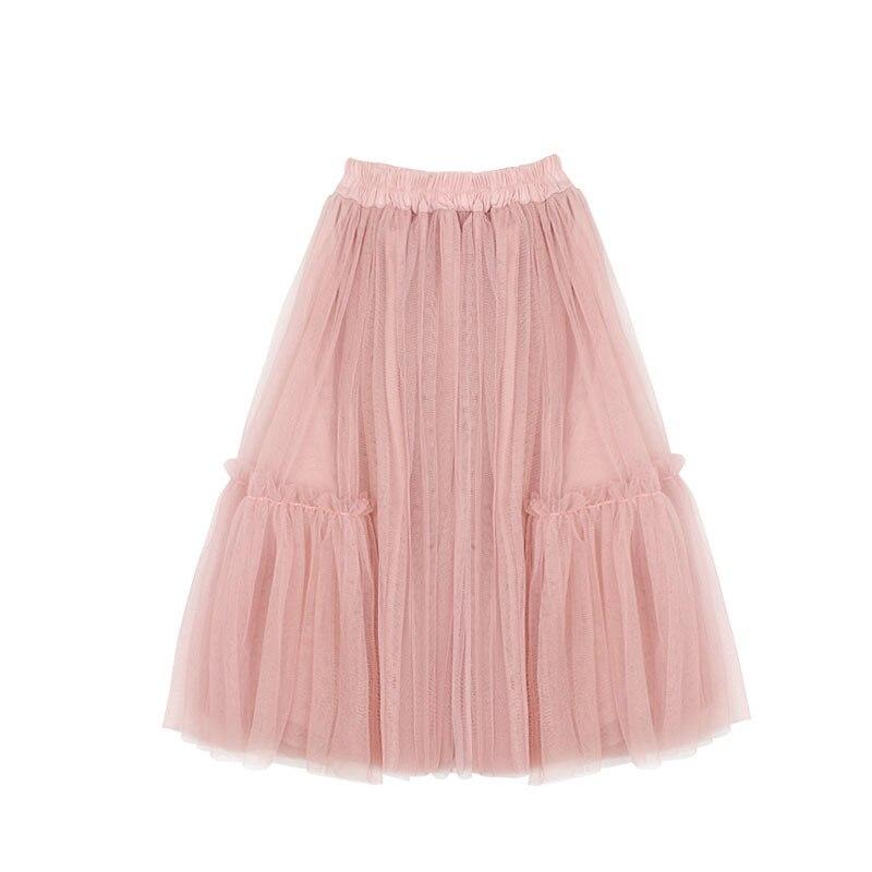 2-12T Baby Girls Pink Tutu Skirts Children Kids Fluffy Pettiskirt Long Princess Tulle Dance Skirts Baby Girls Net Veil Tutu dust pink high rise slit hem maxi skirts