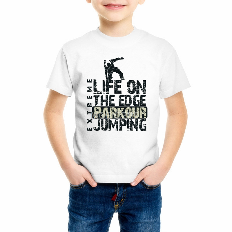 Funny Kids Parkour Runner Girl T-Shirt Parkour Free Running Heartbeat Children's T Shirt Style Boy Brand Printed Tee shirt Z10-3 2016 brand clothing t shirt men v for vendette anonymous mask printed t shirt man funny tops tee shirt plus size s xxxl