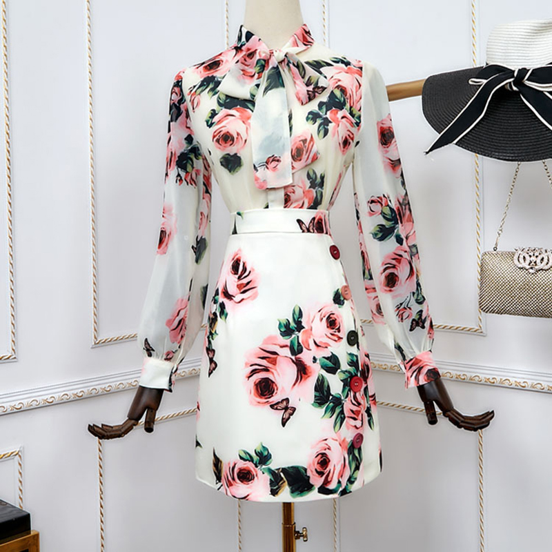 2019 New Fashion Summer Sweet Twin Sets Print Blouse Skinny Skirt Flower Printing Slim Chiffon Outfits