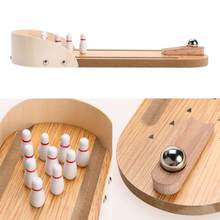 Kids Wooden Mini Desktop Bowling Game Toy Gift Kids Children Interactive Developmental Funny Anti-stress Toy(China)