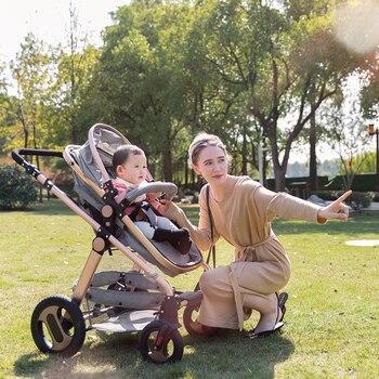 2019 new high landscape baby stroller can sit flat reclining newborn light folding shock absorber sleep blue baby stroller