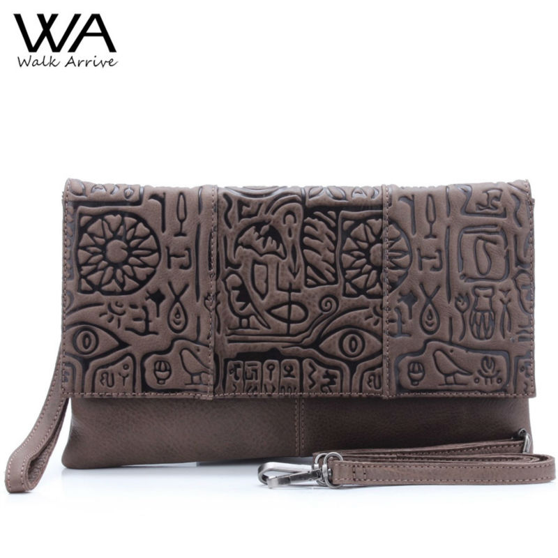 Walk Arrive Genuine Leather Women Clutch Bag Handbag Oracle Embossed Leather Shoulder Bag
