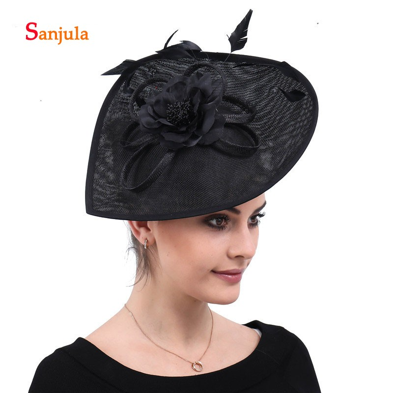 Купить с кэшбэком Black Linen Hats for Women Handmade Flowers Feathers Wedding Hair Accessories Hats Headwear for Mother diadema novia boda H185