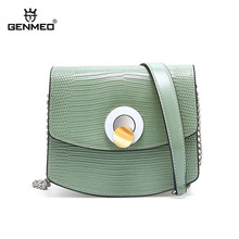 GENMEO New Mini Leather Crossbody Bags For Women Green Chain Shoulder Messenger Bag Lady Travel Purses Handbags Cross Body Bag genmeo new mini leather crossbody bags for women green chain shoulder messenger bag lady travel purses handbags cross body bag