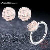 ANFASNI Fasion Original 925 Sterling Silver Rose Petal Garden Pink Enamel Wedding Jewelry Sets Stud Earrings