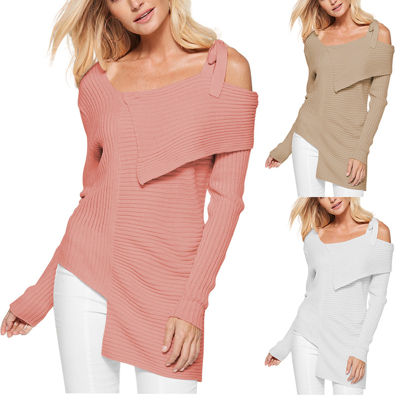 Womens fashion bow sling solid color long sleeve blouse shirt