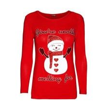 fc09d55ac4 Blusas mujer de moda 2018 mujeres muñeco de nieve impresión Tops sudadera  Jersey blusa camisa señoras Navidad blusas camisa de m.