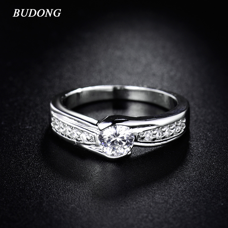BUDONG Crystal Wedding Zirconia Infinity Rings for Women Fashion Jewelry with Stones Silver Color 2017 Engagement Ring XUR148