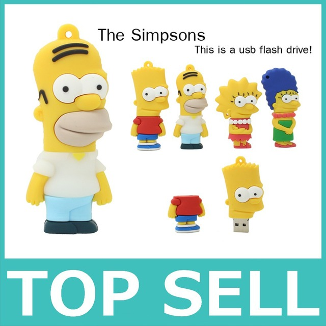 Topsell familiares los simpsons Usb Flash Drive 4 tipos choice 8 gb 16 gb 32 gb 64 gb de memoria usb pen drive pendrive para pc
